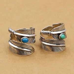 Litego srebra 925 pierścień mężczyźni kobiety z niebieski/zielony kamień naturalny szeroki pióro mankiet zespół ręcznie robione prawdziwe srebro 925 biżuteria mężczyźni miłośników