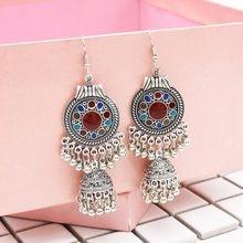 708b33321 Ethnic Indian Jhumka Jhumki Vintage Silver Bells Statement Flower Long  Tassel Drops Mexican Gypsy Dangle Earrings Boho Jewelry