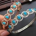 Real clássico 925 sterling silver brilhante natural EUA azul turquesa pulseira pulseiras de cristal jóias finas para mulheres