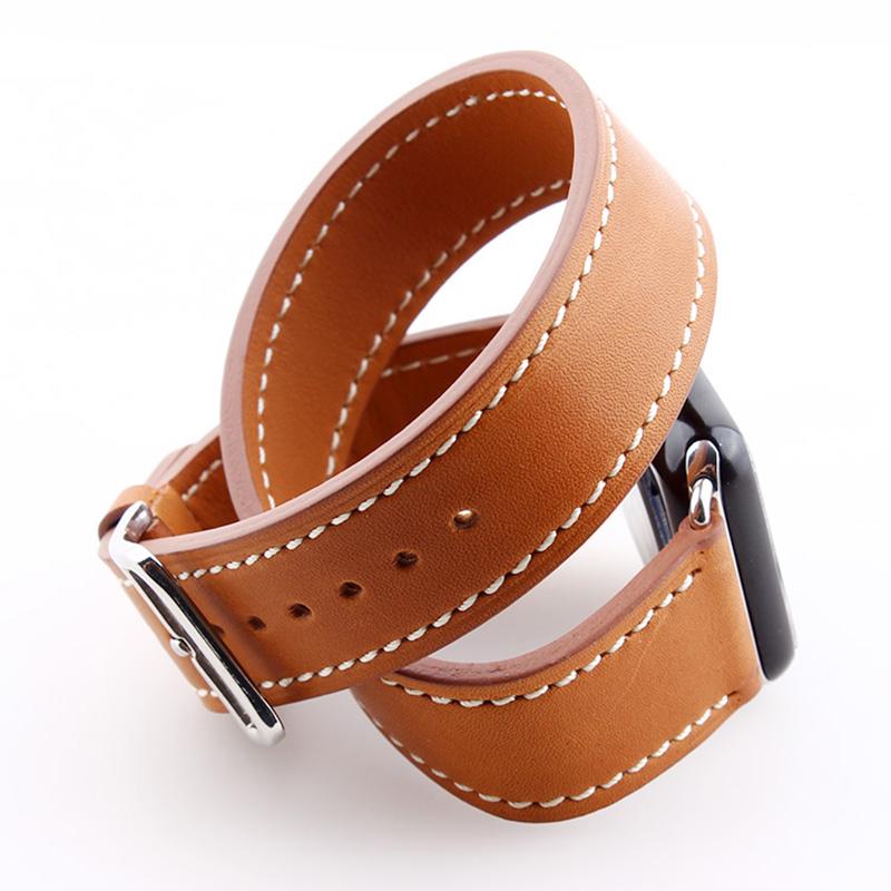 Prix pour Haute Qualité Extra Long Véritable Bracelet En Cuir Pour Apple Watch Bande Double Tour Bracelet En Cuir Bracelet 38mm et 42mm