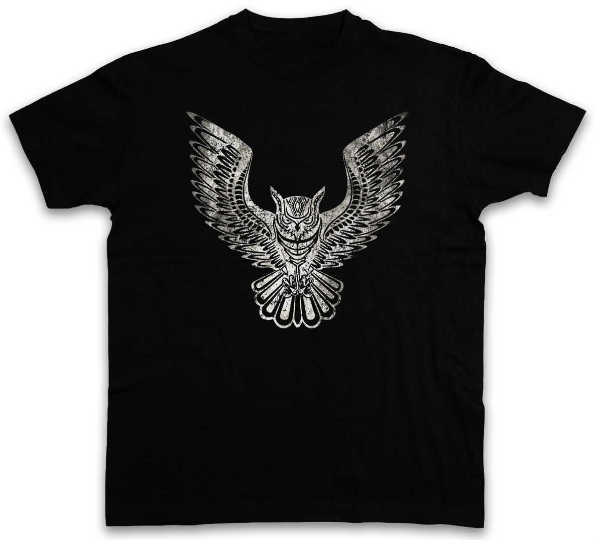 Keren Burung Hantu Grafis Tshirt Kartun Lucu Hipster Electro Tato Burung Pin Up Fashion Pria Tshirt