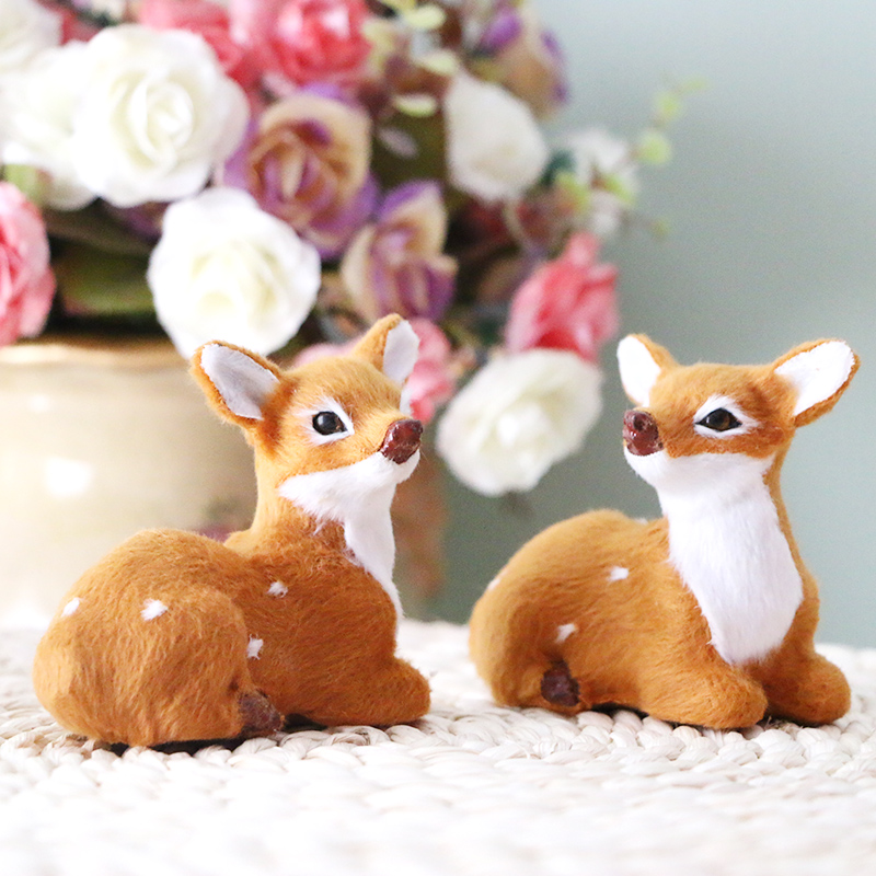 2pcs simulation animal deer,baby deer artificial pron deer toy,decoration for garden home car small doll figure gift for child