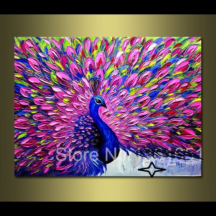 Aliexpress Com Buy High Quality Thick Flocked Modern: Compare Prices On Peacock Oil Painting- Online Shopping