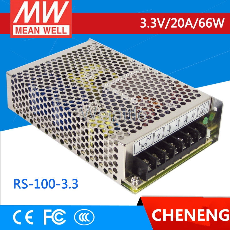 MEAN WELL original RS-100-3.3 3.3V 20A meanwell RS-100 3.3V 66W Single Output Switching Power Supply [freeshipping 1pcs] mean well original rs 25 15 15v 1 7a meanwell rs 25 25 5w single output switching power supply