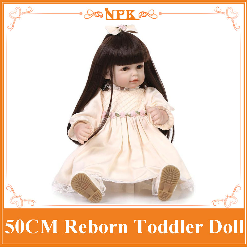 20Inch 50 CM Long Hair Silicone Toddler Dolls Lifelike Silicone Baby Doll Fashion Bebe Reborn Silicone Best Brinquedos De Bebe short curl hair lifelike reborn toddler dolls with 20inch baby doll clothes hot welcome lifelike baby dolls for children as gift
