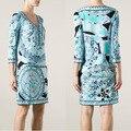 Платья С Ограниченной Зима Dress 2017 Новый Итальянский Женская Мода Показать Модный V-образным Вырезом Печати Тонкий Тонкие Эластичные Ткани Dress