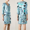 Dresses Limited Winter Dress 2017 New Italian Ladies' Fashion Show Fashionable V-neck Printing Slim Knitted Elastic Fabric Dress