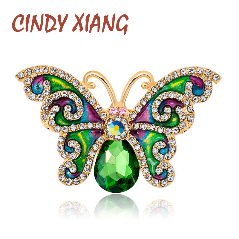 8fc50d202157f CINDY XIANG Rhinestone Green Color Butterfly Brooches For Women Summer  Style Enamel Pins Fashion ...