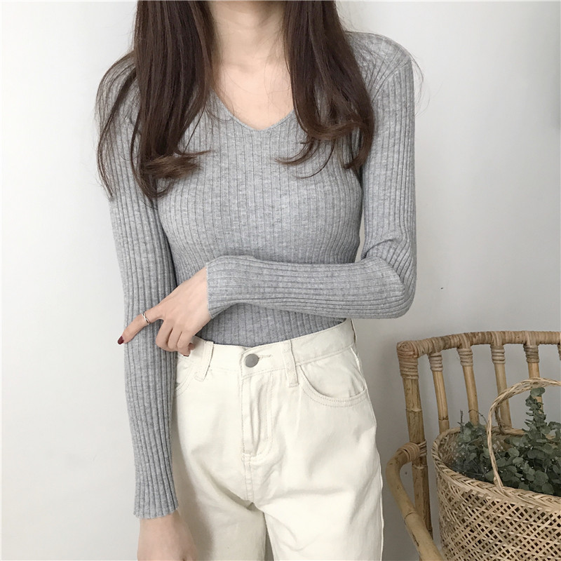 2019 basic v-neck solid autumn winter Sweater Pullover Women Female Knitted sweater slim long sleeve badycon sweater cheap 5
