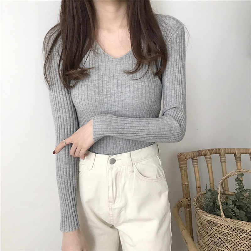 2019 basique col en v solide automne hiver pull pull femmes femme tricoté chandail slim à manches longues badycon chandail pas cher