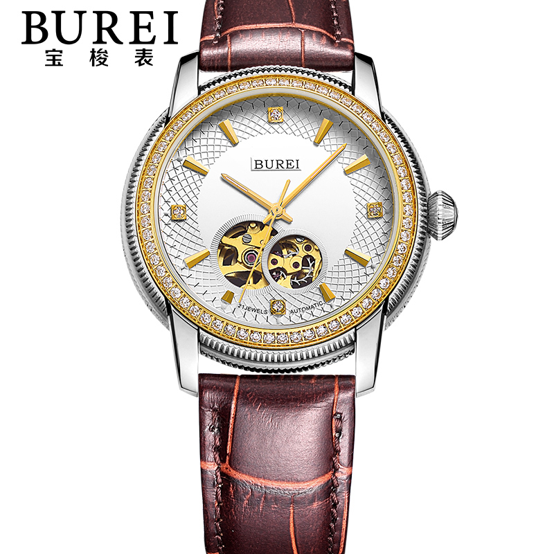 BUREI Luxury Men Crystal Sapphire Genuine Leather Automatic Mechanical Watch Waterproof Wristwatches With Premiums Package 5015 burei brand crystal sapphire men sports automatic mechanical watch waterproof male wristwatches with premiums package 15009