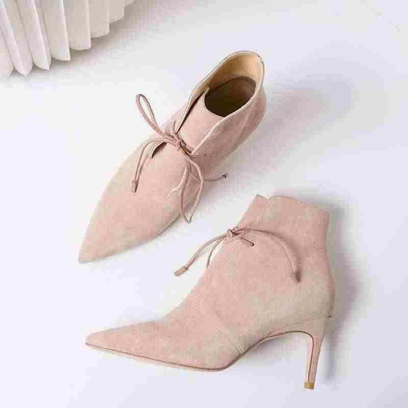 Krazing Pot yeni koyun süet dantel up Chelsea çizmeler stiletto yüksek topuklu streetwear sivri burun model podyum kadın yarım çizmeler L31