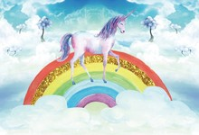 Laeacco Unicorn Party Rainbow Sequins Cloudy Baby Photographic Backgrounds Photocall Photography Backdrops For Family