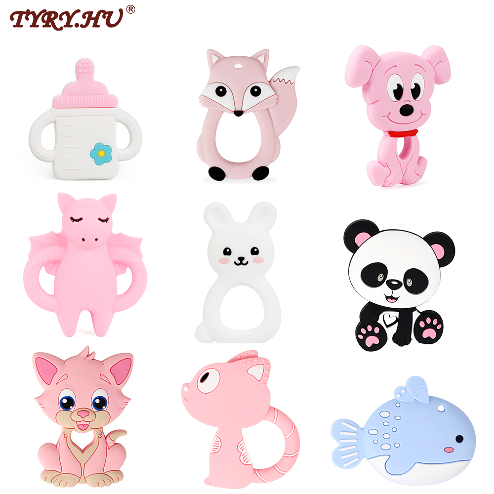TYRY.HU 1PC Baby Teething Toys Cartoon Silicone Pendant For Pacifier Chain BPA FREE Rodent DIY Accessories Chewing Teether Baby