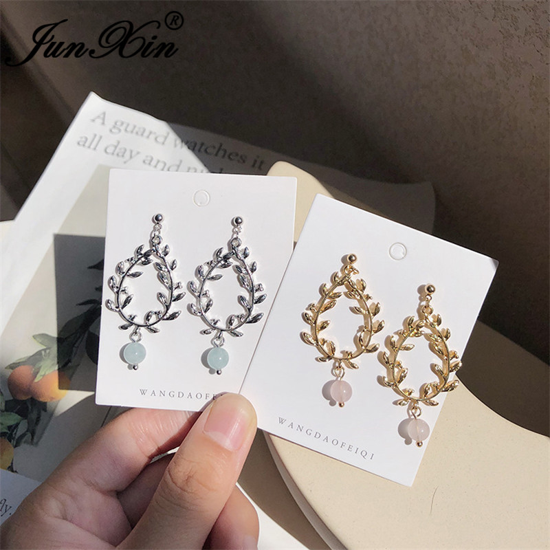 JUNXIN Fairy Olive Branch Plant Drop Earrings For Women White/Yellow Gold Color Girls Blue Pink Beaded Earrings Crystal Jewelry