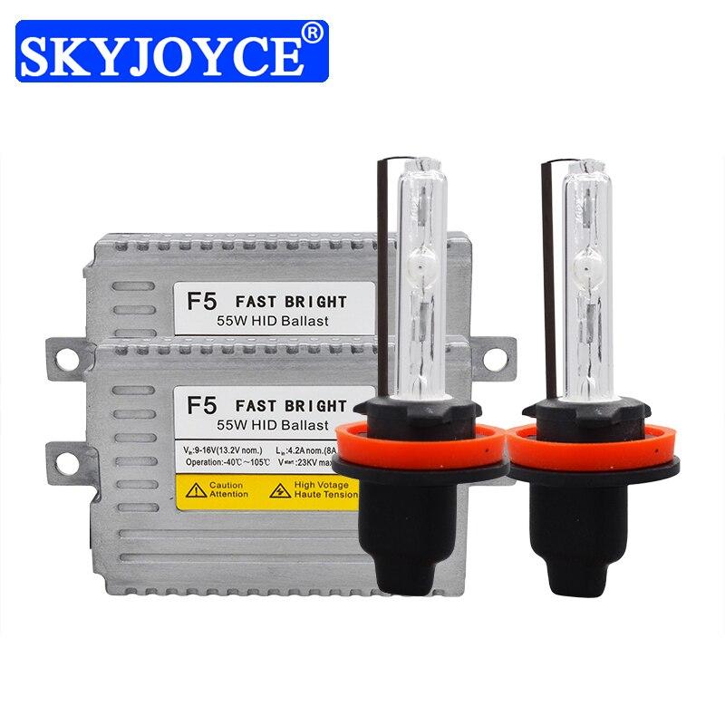 SKYJOYCE 55W F5 Fast Bright HID Ballast Kit Cnlight Xenon H1 H3 H11 HB3 H7 D2H Car Headlight Bulb 55W HID Kit 4300K 5000K 6000K