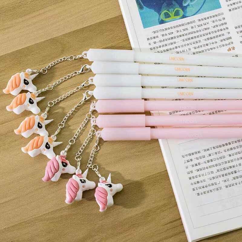 2 pçs unicórnio festa favores canetas kawaii plush pendant caneta para crianças aniversário favores do casamento presentes para convidados decorações do chuveiro do bebê