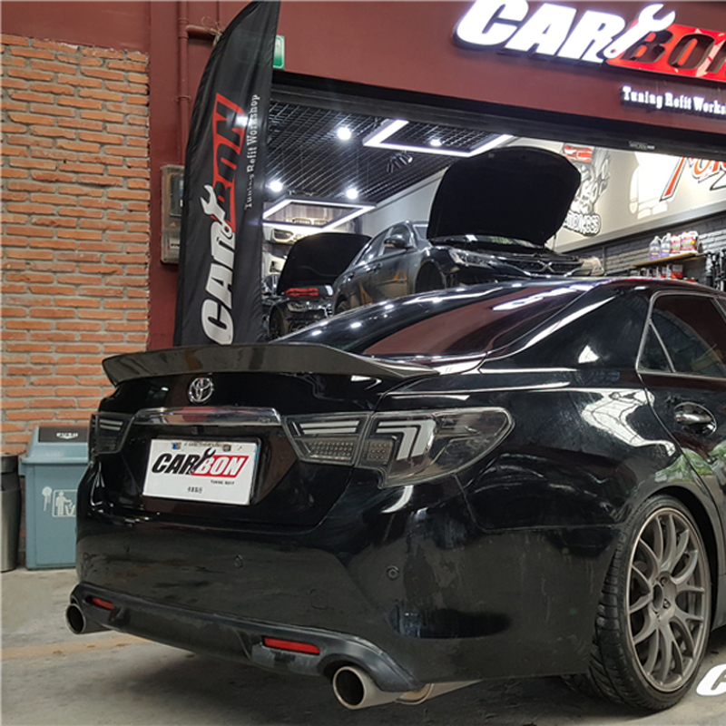 For TOYOTA Mark X Spoiler 2010 2018 REIZ spoiler High Quality Carbon Fiber Rear Trunk Spoiler Spoilers & Wings     - title=