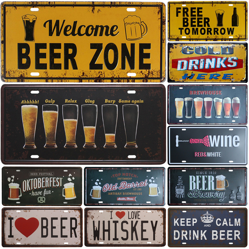 New Hot Sell Beer Group Plate Metal Plate Car Number Tin Sign Bar Pub Cafe Home Decor Metal Sign Garage Painting Plaques Sign(China)