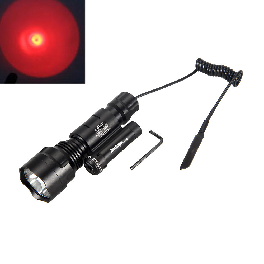 Waterproof 2000 Lumens T6 LED Flashlight Torch Hunting Lantern Lamp+ Pressure Switch + Red Dot Laser Sight New 3800 lumens cree xm l t6 5 modes led tactical flashlight torch waterproof lamp torch hunting flash light lantern for camping z93