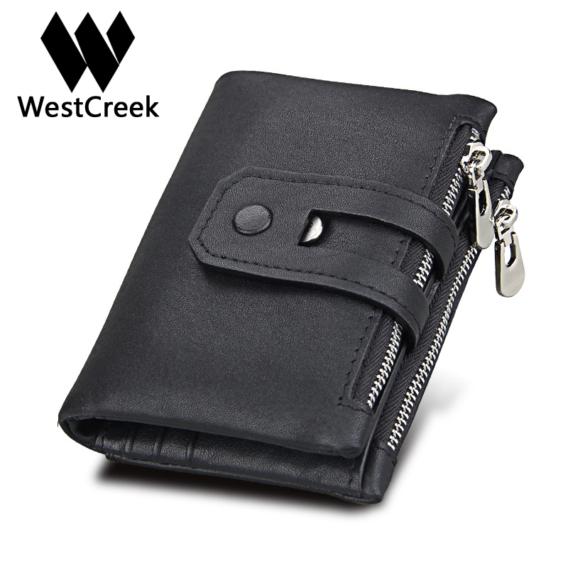 Westcreek Brand Genuine Leather Men Fashion Trifold Hasp Anti RFID Short Wallet Cow Leather Travel Double Zipper Purse genuine cow leather vintage men wallet fashion zipper