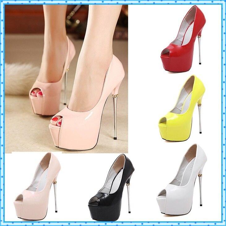 b77515427e8 white wedding shoes 16cm extreme high heels party shoes Pumps Stilettos  heels Platform Peep Toe pumps Ladies dress Shoes D132 …