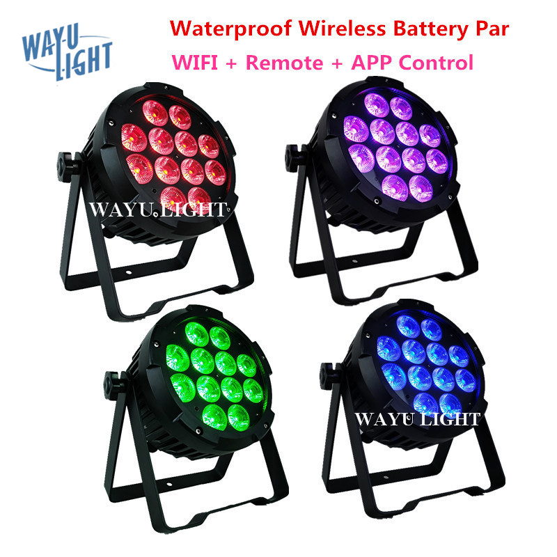 IP65 Waterproof Wireless DMX Battery LED Par Can RGBWAUV 6IN1 12pcs 18W DJ Light Outdoor Disco Par Can Stage Lighting Wash Light