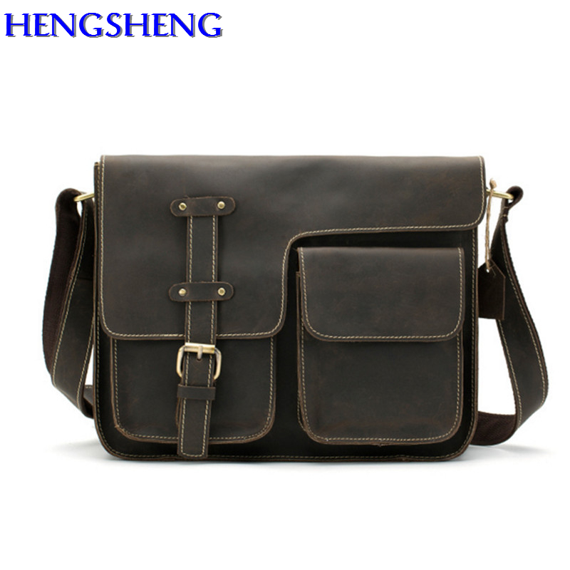 Фотография Hengsheng luxury genuine leather men shoulder bag with quality cow leather men messengers bag by coffee color men bags