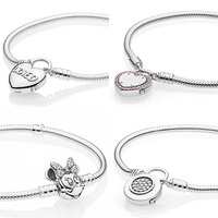 Moment Loved Heart Lock Your Promise Padlock Minnie Portrait Clasp Bracelet Fit Pandora Bangle 925 Sterling Silver Charm Jewelry