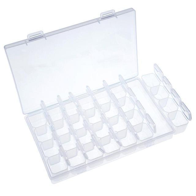 28 Grids Transparent Tablet Medicine Box Organizer Storage Box Jewelry Storage Organizer Box  with Removable Dividers