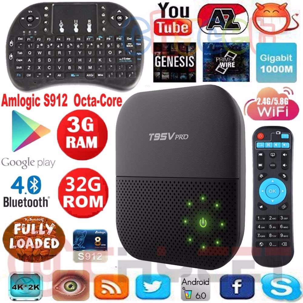 ФОТО T95V pro 3GB 32GB Amlogic S912 Octa Core Andorid 6.0 TV BOX 2.4G/5GHz Dual WiFi 3D 4K H.265 Media Player Smart tv box PK X96 X92