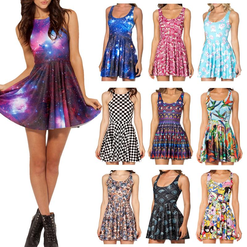 15f3b27ca4117 US $8.99 |New 2014 Summer Skater Dress Black Milk Galaxy Purple Print  Dresses For Girl Women Black Milk Skater Dress Novelty Vestidos-in Dresses  from ...