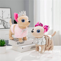 Electronic Pet Chi Chi Robot Dog plush Stuffed Animals Walking Singing Interactive dog Toy With Bag For Children Kids Birthday
