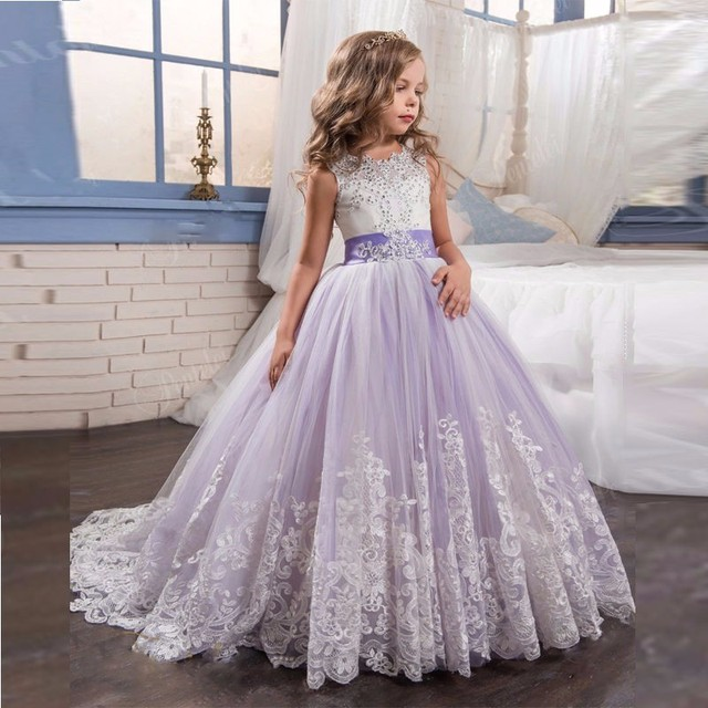 Lilac Flower Dresses With Long Train 2017 Ivory Lace First Communion Dress For S Children