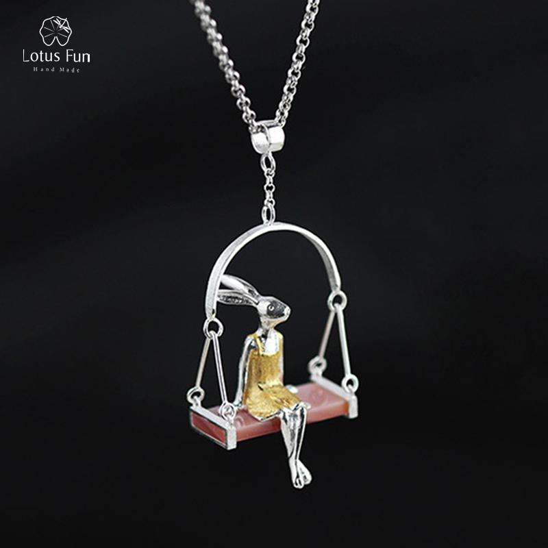 Lotus Fun Brand Real Sterling Silver 925 Pendant for Women Fine Jewelry Animal Rabbit Swing Handmade Pendant Girl Gift Wholesale