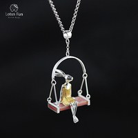 Lotus Fun Brand Real Sterling Silver 925 Pendant for Women Fine Jewelry Animal Rabbit Swing Handmade Pendant Girl Gift Wholesale