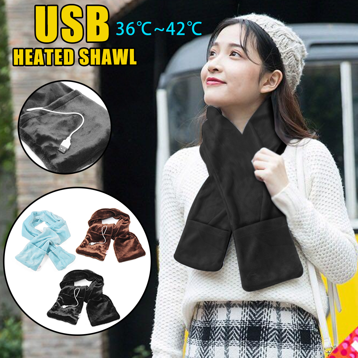 Electric Heated Shawl Mobile Heating Scarf Winter Warming Neck Hand Portable USB Powered Soft Ourdoor Indoor Car Home 18x148cm cute rabbit shaped usb powered heated foot warming soft slippers pink pair