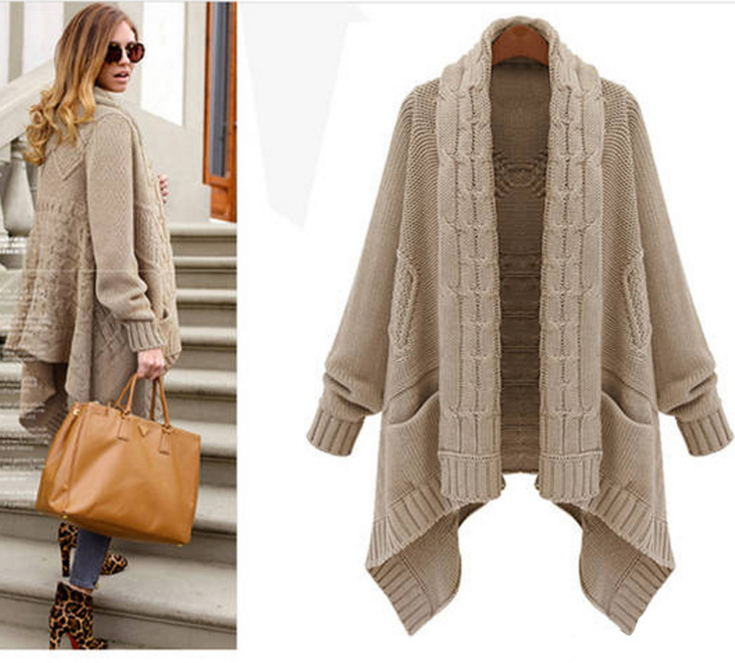 European style autumn winter ladies cardigan sweater and long sections irregular sweater coat thick loose big