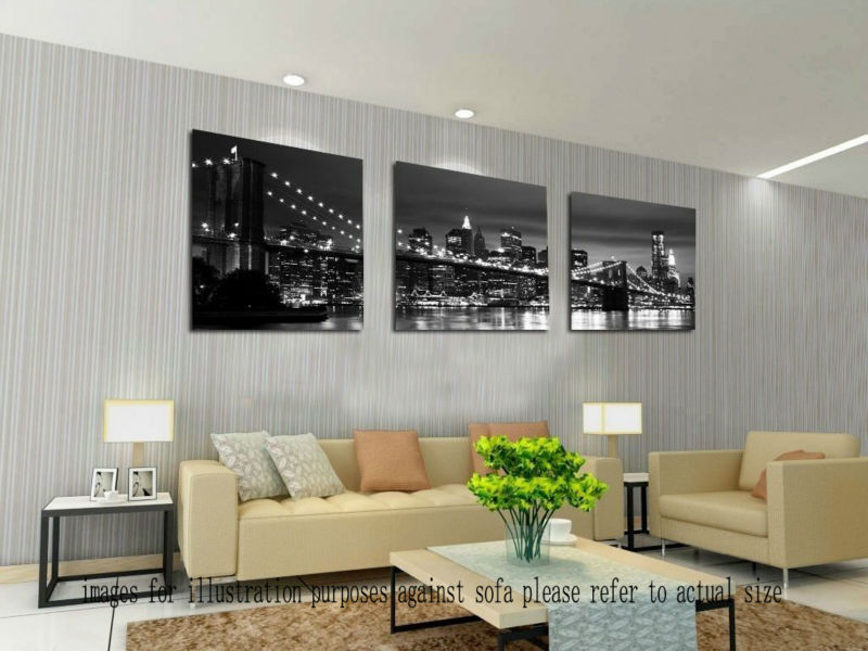 Framed Canvas Painting Printed Modern wall art New York bridge Home Decoration Picture Poster - store