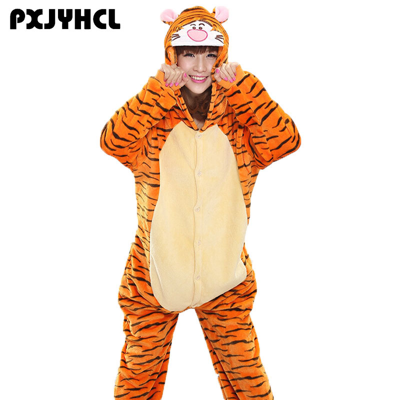 Adult Animals Kigurumi Onesie Winter Cartoon Pajamas Pikachu Tiger Cosplay Costume For Girl Warm Anime Jumpsuit Party Suit