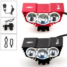Envío libre 6000 Lúmenes 3x CREE XM-L U2 LED Head delantera de La Bicicleta de la Linterna Lámpara de Luz Del Faro 6400 mAh de La Batería con cargador