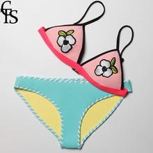 CTS Novo Sexy Biquíni de Crochê Artesanal definir Mulheres Maiô Neoprene Biquíni 2018 Push Up Swimwear Maiô Sexy Biquinis