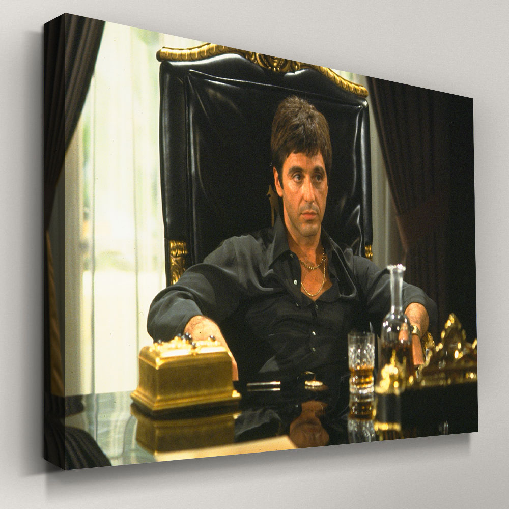 Indoor decorations Canvas Print with Framed scarface2 Al Pacino Tony Montana Poster Wall Art Paintings for Living room Decor