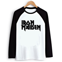 Heavy Metal Music Iron Maiden Transfer Print Raglan Long Sleeve T Shirt Black White Raglaned Women