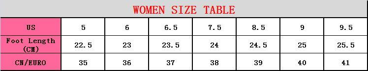 women size table