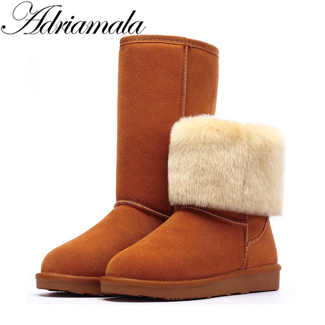 Adriamala Снегоступы зимняя женская обувь 2017 корова Разделение до середины икры скольжения на обуви круглый носок плоские кожаные сапоги до колена для Для женщин