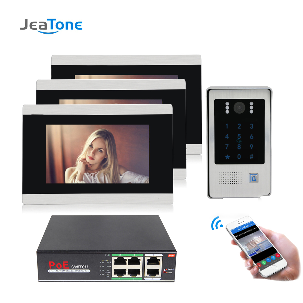 7 Inch WIFI IP Video Door Phone Intercom Entry System Touch Screen With RFIC Function Access Control System Motion Detection