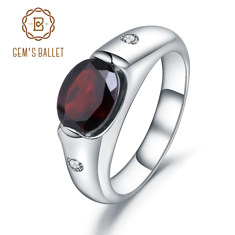GEM'S BALLET 2.21Ct Natural Red Garnet Gemstone Wedding Ring For Women Genuine Solid 925 Sterling Sliver Fine Jewelry