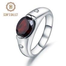 GEMS BALLET anillo de boda de GEMA de granate roja Natural para mujer, 2.21Ct, Plata de Ley 925 sólida auténtica, joyería fina