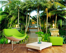 beibehang Senior interior wallpaper Home Furnishing decorative painting palm Maldives scenic backdrop papel de parede tapety   цена